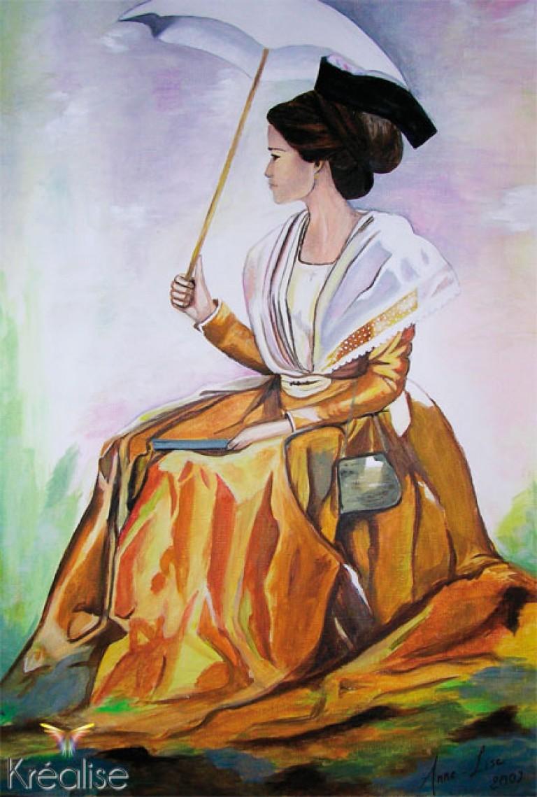 «L'arlésienne à la robe safran» d'après Danielle Raspini – Peinture sur toile à l'huile – 40cmX60cm – 2007 – (Vendu)