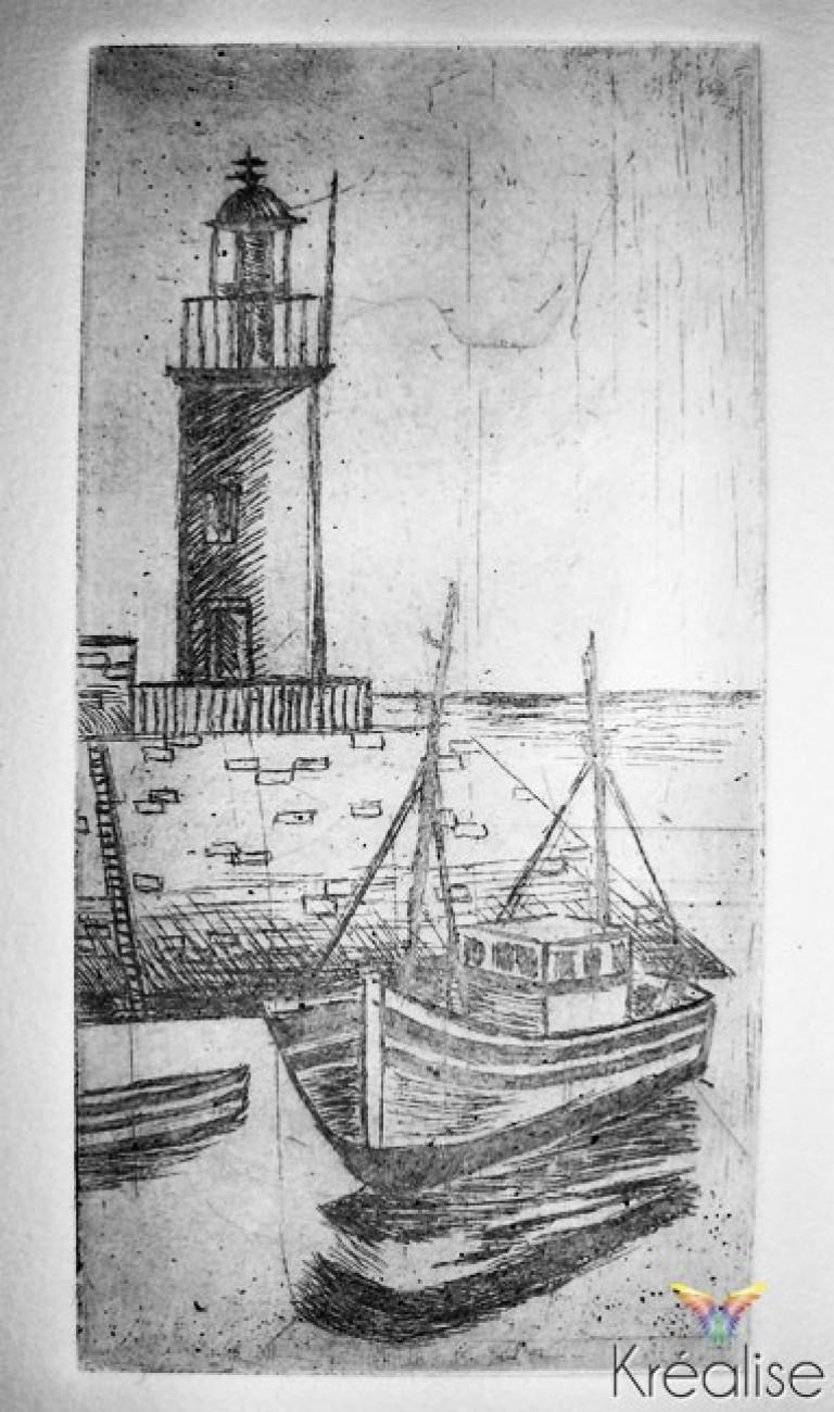 «L'entrée au port» – Gravure sur une plaque de cuivre – 5cmX10cm – 2009 – (A vendre 75€)