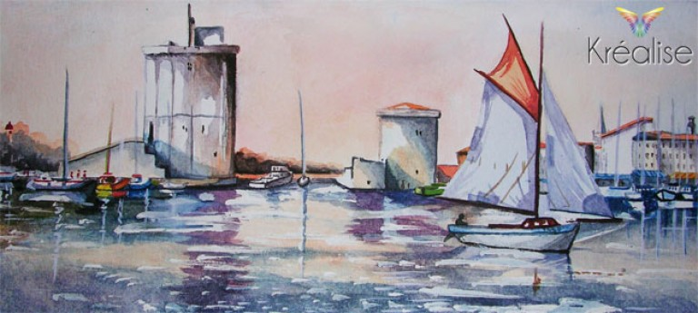 «Les tours de La Rochelle» d'après Eric Bertaux – Peinture sur papier à l'aquarelle – 24cmX11cm – 2008 – (Vendu)