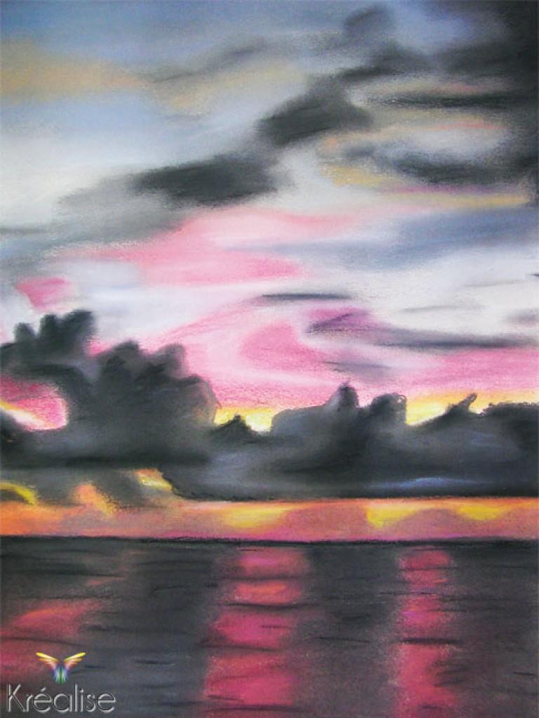 «Couché sur mer» – Dessin sur papier au pastel – 32cmX42cm – 2007 – Œuvre Originale – (A vendre 35€)