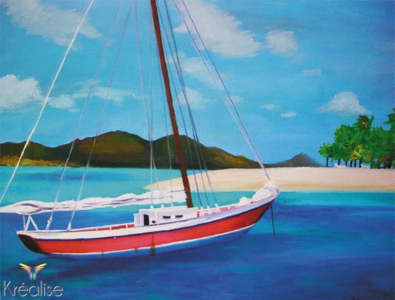 «Jeter l'ancre» – Peinture sur toile à l'acrylique – 41cmX33cm – 2007 – Œuvre Originale – (Vendu)