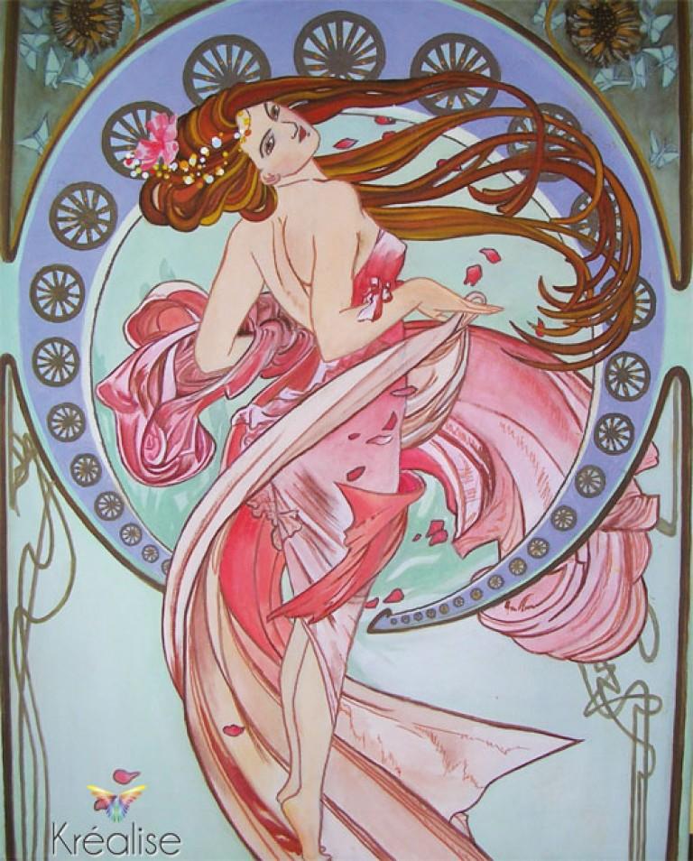 «Danse» d'après Alphonse Mucha – Peinture sur toile à l'huile – 40cmX60cm – 2009 – (Vendu)