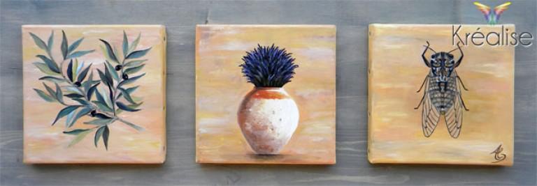 «La Provence» – Tryptique sur toile à l'huile – 3X 20cmX20cm – 2012 – Œuvre Originale – (Vendu)