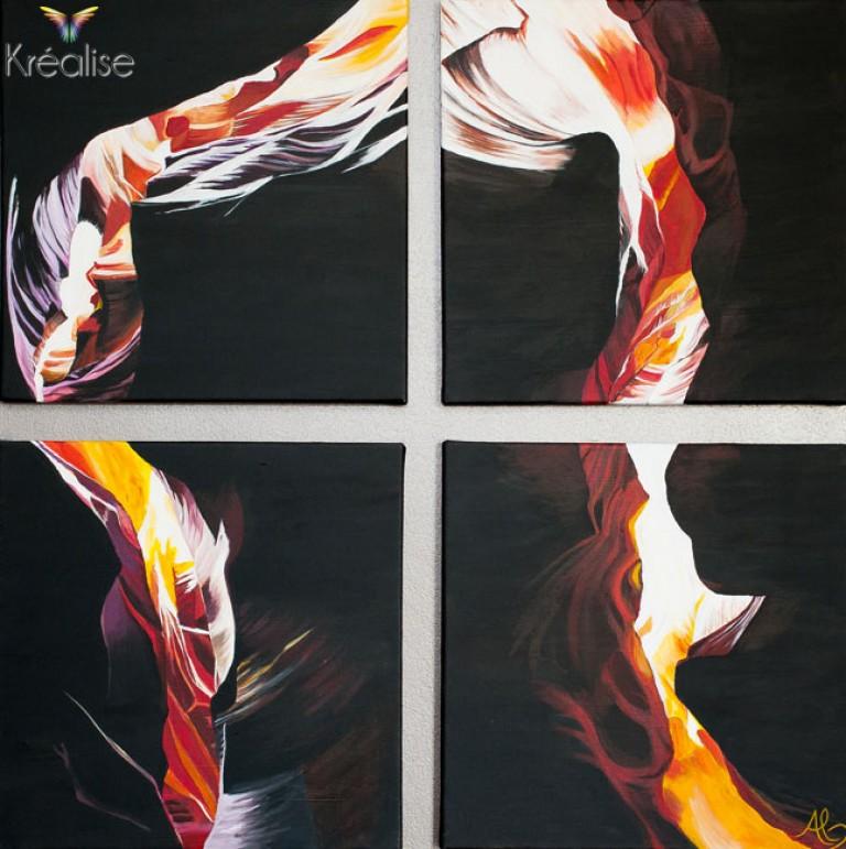 «Antelope Canyon» – Polyptyque sur toile à l'acrylique – 4X 40cmX40cm – 2012 – Œuvre Originale – (Vendu)