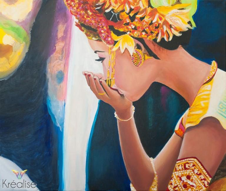 «Jeune femme au chapeau de fleur» – Peinture sur toile à l'acrylique – 55cmX46cm – 2012 – Œuvre Originale – (A vendre 525€)