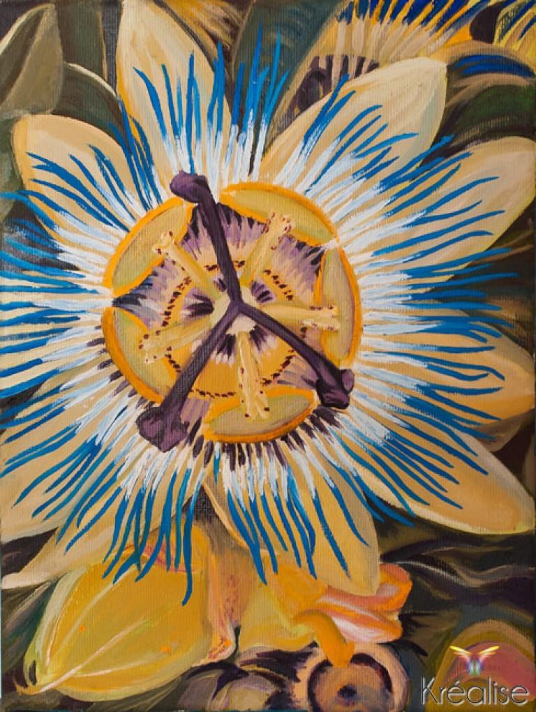 «Fleur de la Passion bleue» – Peinture sur toile à l'huile – 18cmX24cm – 2011 – Œuvre Originale (A vendre  105€)