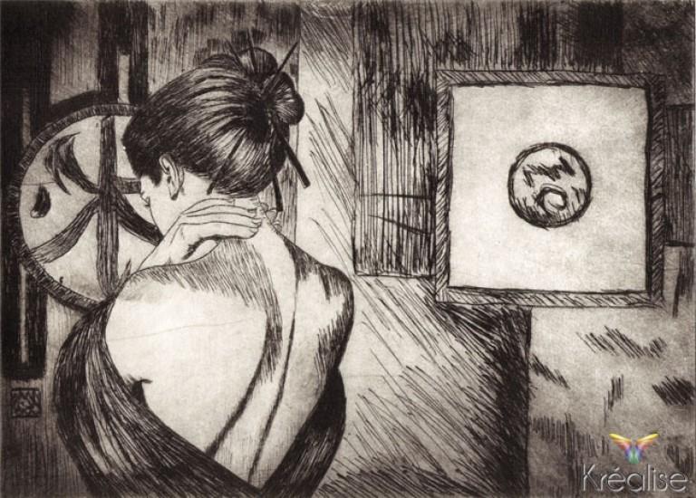 «Soupir effleuré» d'après David Graux – Gravure sur une plaque de Rhenalon – 15cmX20cm – 2009 – (A vendre 75€)