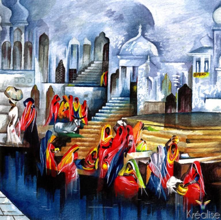 «Miroir de l'Inde» d'après Raymond Poulet – Peinture sur papier à l'aquarelle et gouache – 18cmX18cm – 2006 – (Vendu)