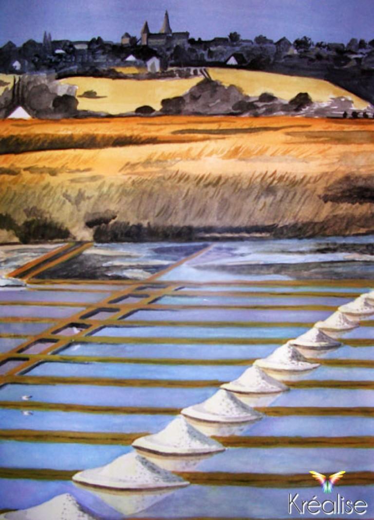 «Marais salants» – Peinture sur papier à l'aquarelle – 2007 – Œuvre Originale – (Vendu)