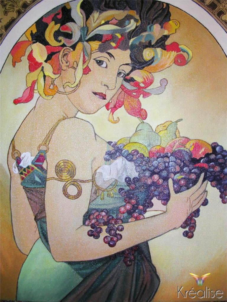 «Fruit» d'après Alphonse Mucha – Peinture sur toile à l'huile – 40cmX60cm – 2007 – Vendu