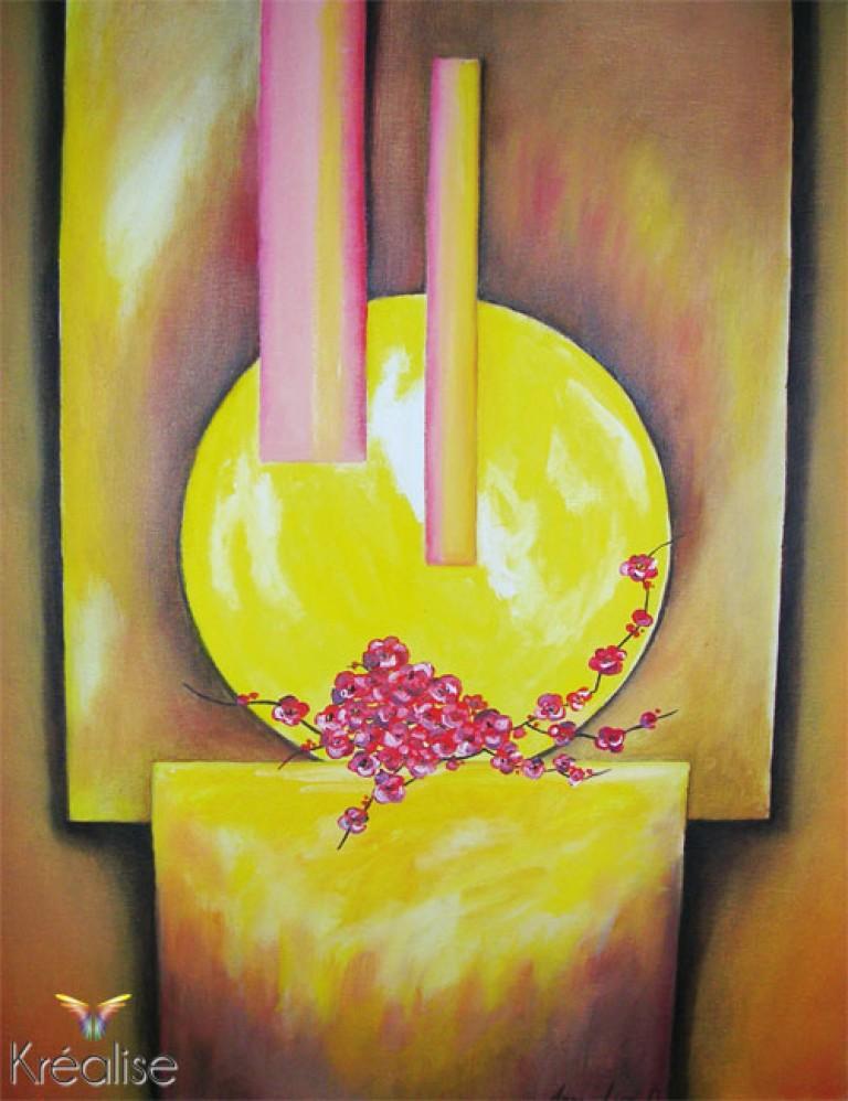 «Incandescence florale» – Peinture sur toile à l'huile – 46cmX55cm – 2008 – Œuvre Originale – (Vendu)