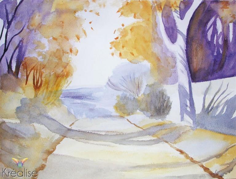 «Forêt d'Automne» – Peinture sur papier à l'aquarelle – 38cmX28cm – 2007 – (A vendre 35€)