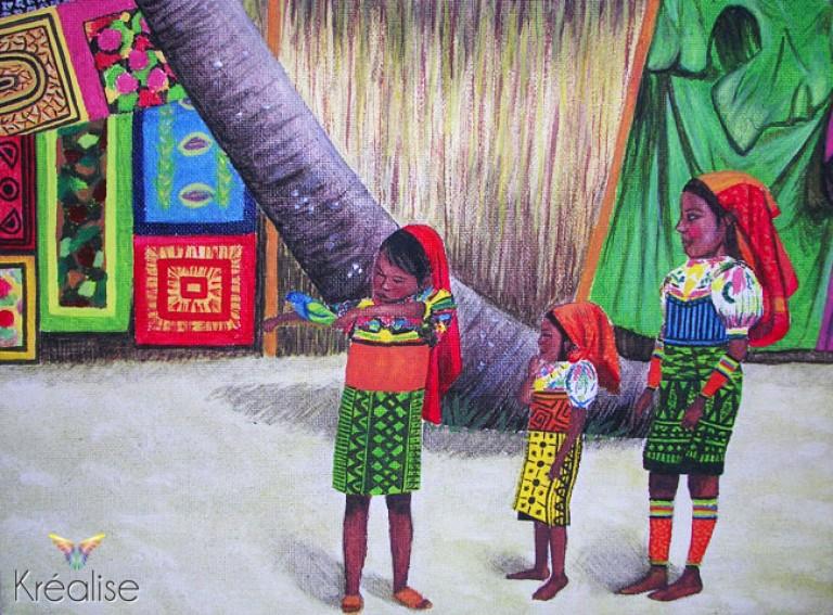 «Les petites filles du Panama» – Peinture sur toile à l'huile – 46cmX33cm – 2007 – Œuvre Originale – (A vendre 175€)