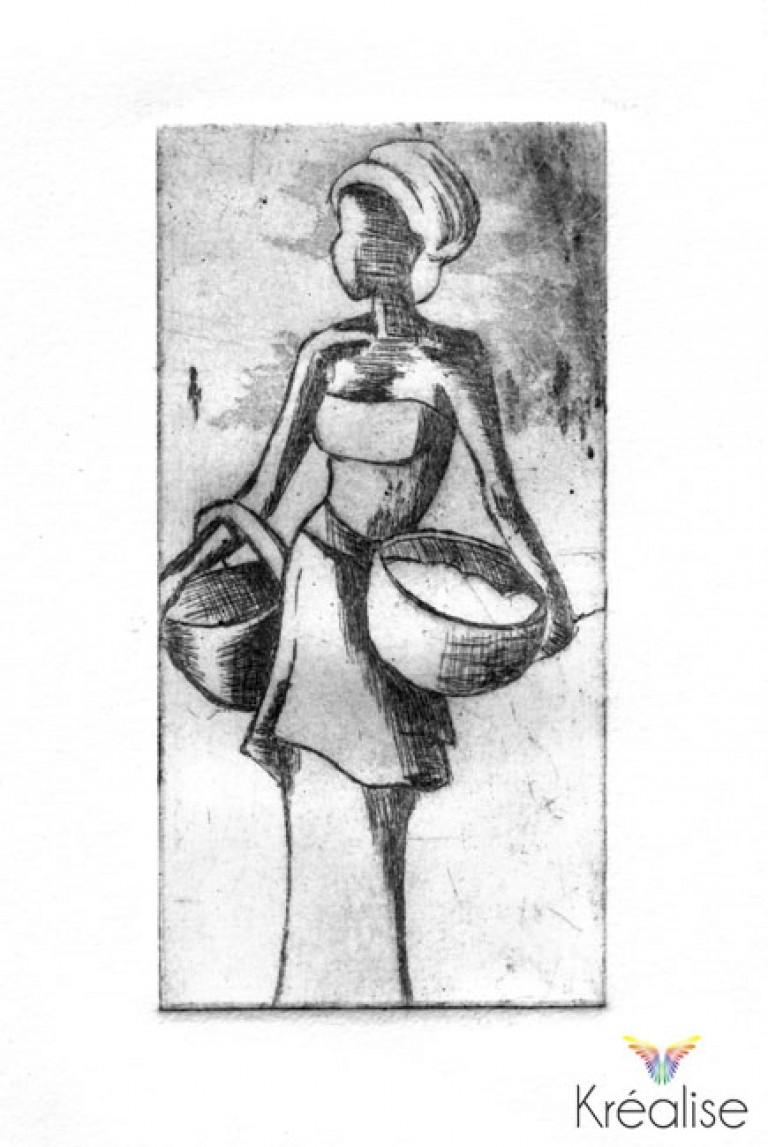«L'Africaine» inspiré de «L'impatient» de J.P Gack – Gravure sur une plaque de cuivre – 5cmX10cm – 2008 – (A vendre 75€)