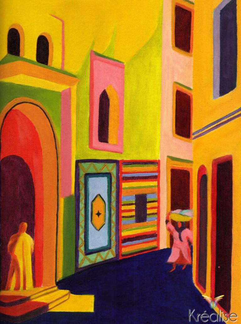 «Fauvisme à Tanger» – Peinture sur toile souple sans châssis à l'huile – 24cmX30cm – 2007 – Œuvre Originale – (A vendre 140€)