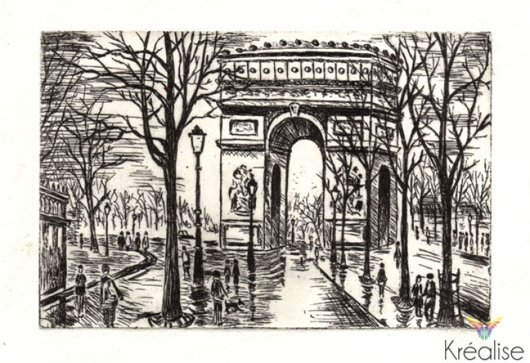 «Place de l'Etoile» – Gravure sur une plaque de zinc – 10cmX15cm – 2008 – (A vendre 75€)
