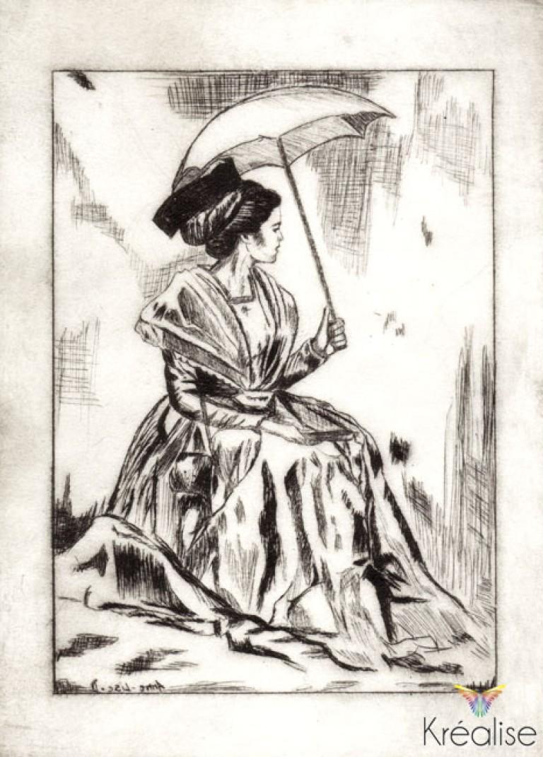 «L'arlésienne à la robe safran» d'après Danielle Raspini – Gravure sur une plaque de Rhenalon – 15cmX20cm – 2008 – (A vendre 75€)