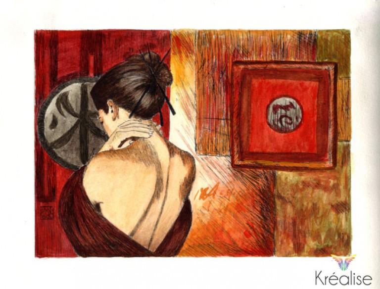 «Soupir effleuré» d'après David Graux – Gravure sur une plaque de Rhenalon colorée à l'aquarelle – 15cmX20cm – 2009 – (A vendre 90€)