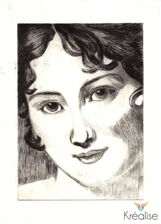 «Madame Récamier» d'après François Gérard- Gravure sur une plaque de Rhenalon – 10cmX15cm – 2009 – (A vendre 75€)