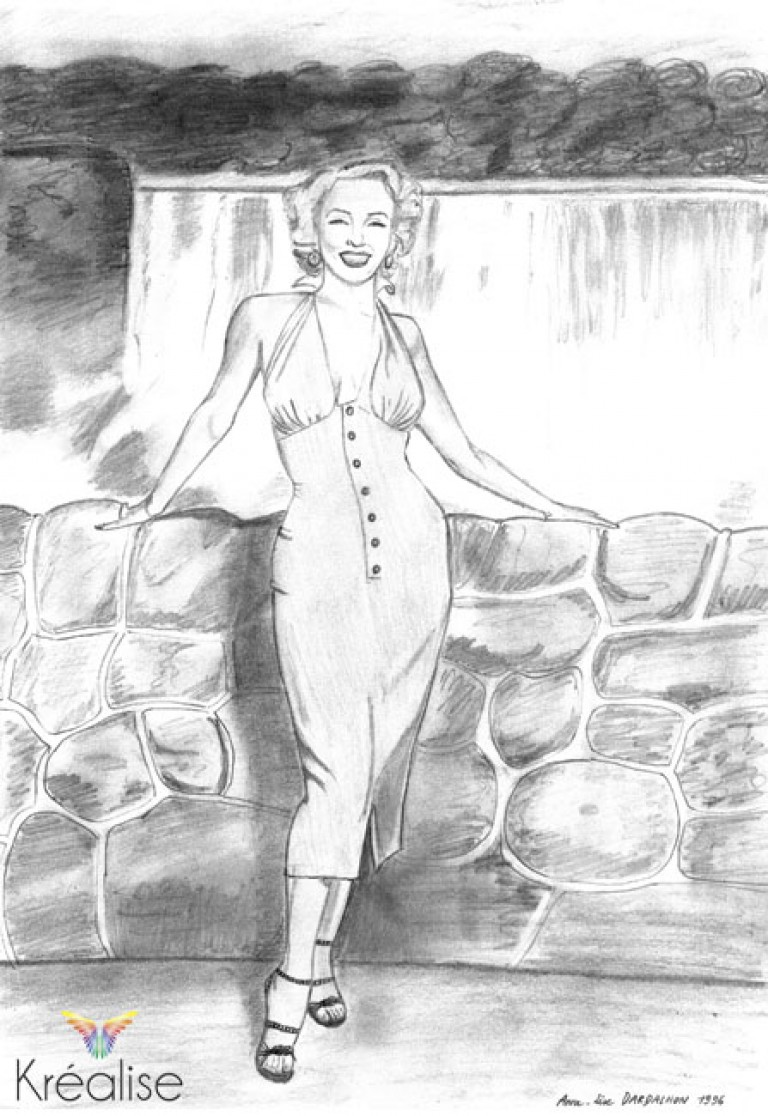 «Marilyn» – Dessin sur papier au crayon – 21cmX30cm – 1996 – Œuvre Originale