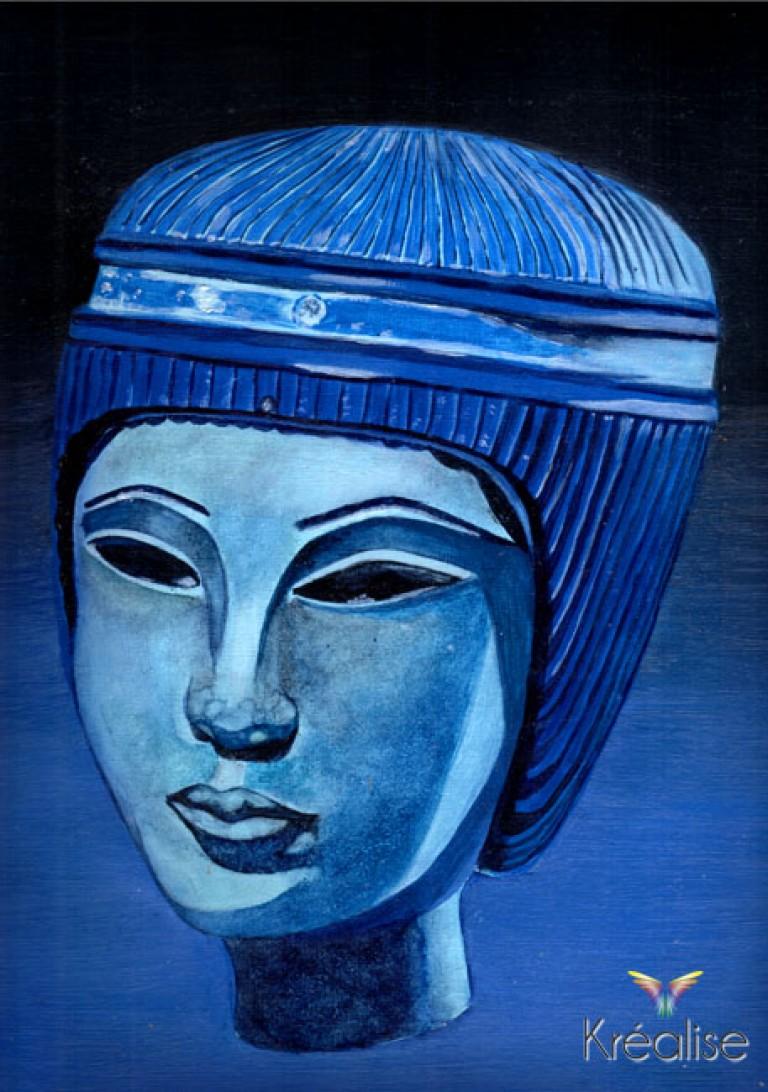 «Néfertiti» – Peinture sur toile souple sans châssis à l'huile – 24cmX33cm – 2007 – Œuvre Originale – (A vendre 140€)