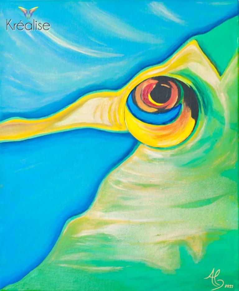 «Regard Pacifique» – Peinture sur toile à l'acrylique – 38cmX46cm – 2011 – Œuvre Originale – (A vendre 350€)
