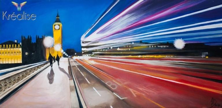 «De Londres à la lumière» – Peinture sur toile à l'huile – 60cmX30cm – 2011 – Œuvre Originale – (A vendre 525€)